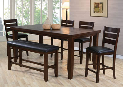 Bardstown Counter Height Extension Dining Table w/ 4 Side Chairs and Bench