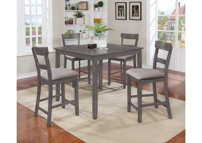 Henderson Grey 5-Piece Counter Height Dinette,Crown Mark