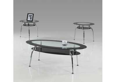 Image for Mila Black Glass Top Cocktail Table 3 Pack