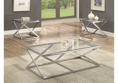 Image for Chase Silver 3 Pack Glass Top Cocktail Table Set