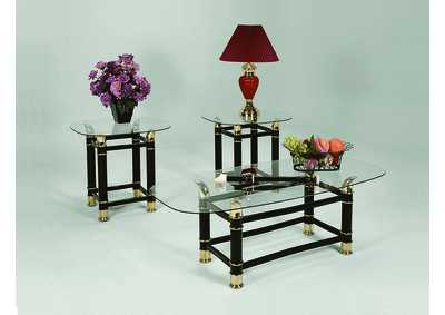 Image for Horn Black Glass Top Occasional Table Set (Cocktail & 2 Ends)