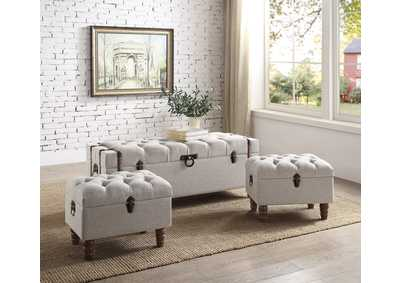 Image for Sachi 3Pc Storage Ottoman Set Taupe