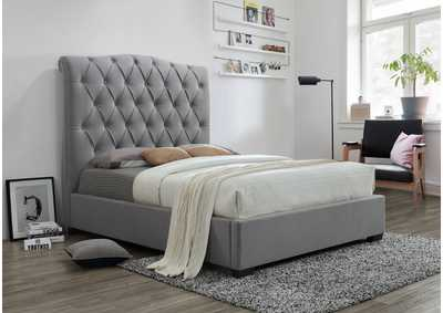 Image for Janice Grey Upholstered Queen Platform Bed