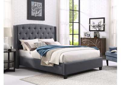 Image for Eva Grey Upholstered King Platform Bed
