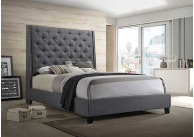 Image for Chantilly Dark Grey Upholstered Queen Platform Bed
