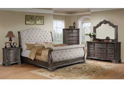 Image for Sheffield Antique Grey King Bedroom Set W/ Dresser, Mirror, Nightstand & Chest