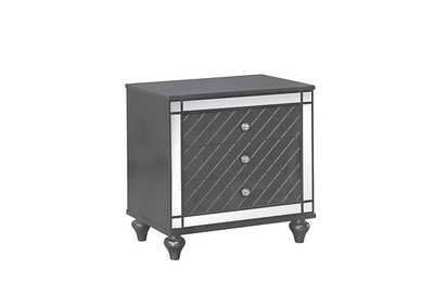 Image for Refino Stainless Steel/Black Night Stand