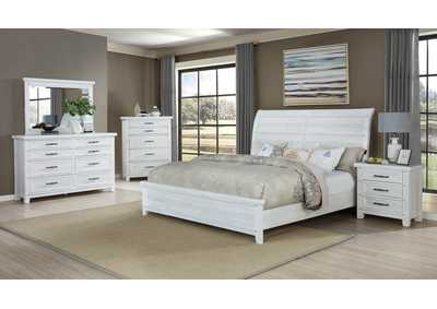 Image for Maybelle Antique White King Bedroom Set W/ Dresser, Mirror, Nightstand & Chest