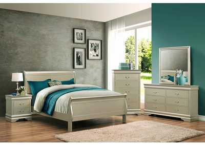 Image for Louis Phillipe Champagne Full Bedroom Set W/ Dresser, Mirror, Nightstand & Chest