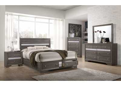 Regata Grey Storage Platform Queen Bed,Crown Mark