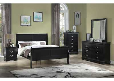 Image for Louis Philip Cherry Twin Sleigh Bed W/ Dresser & Mirror