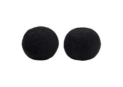 "Image for Black [Set of 2] 10"" Round Accent Pillows in Black Faux Sheepskin by Diamond Sofa"