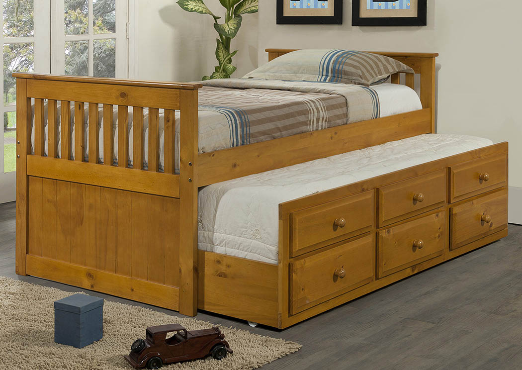 Twin Honey Mission Trundle Bed w/3 Roll-Out Storage Drawers,Donco Kids
