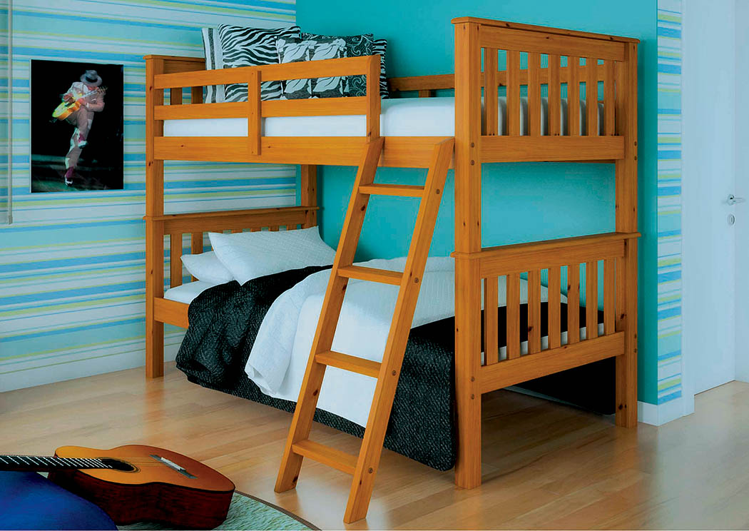 Twin/Twin Honey Mission Bunk Bed w/Tilt Ladder,Donco Kids