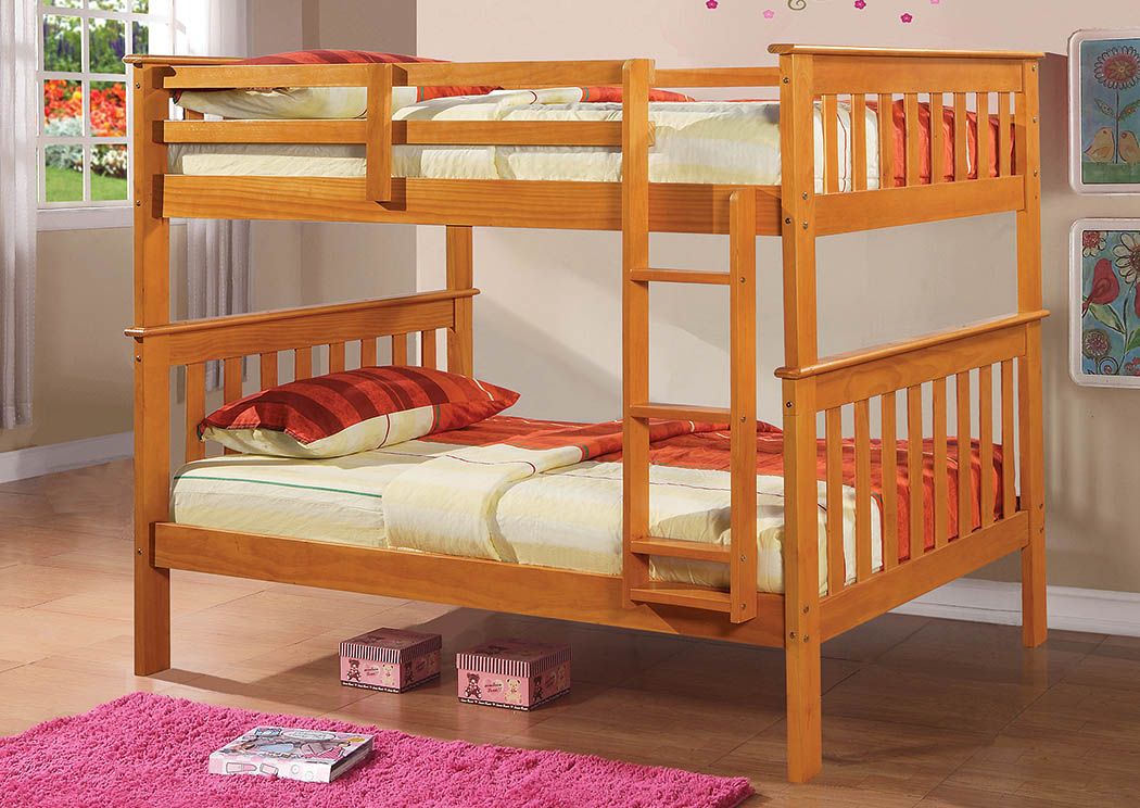 Twin/Twin Honey Mission Bunk Bed w/Ladder,Donco Kids