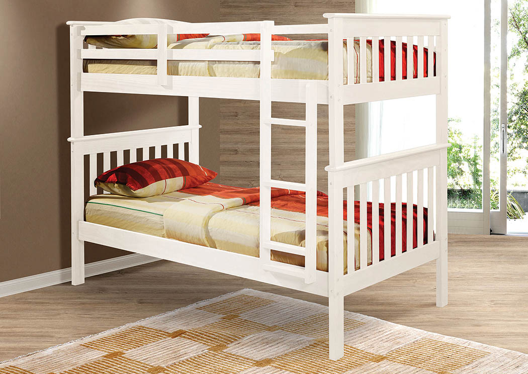 Twin/Twin White Bunk Bed w/Ladder,Donco Kids