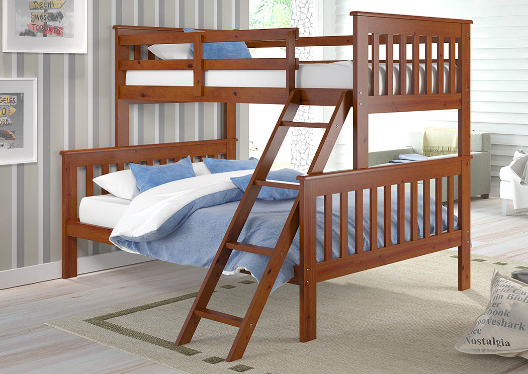 Twin/Full Mission Bunk Bed w/Tilt Ladder,Donco Kids