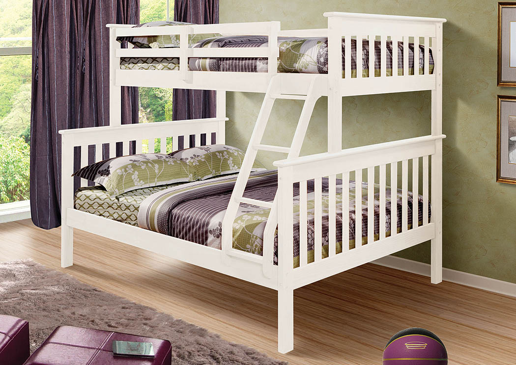 Twin/Full White Mission Bunk Bed w/Ladder,Donco Kids