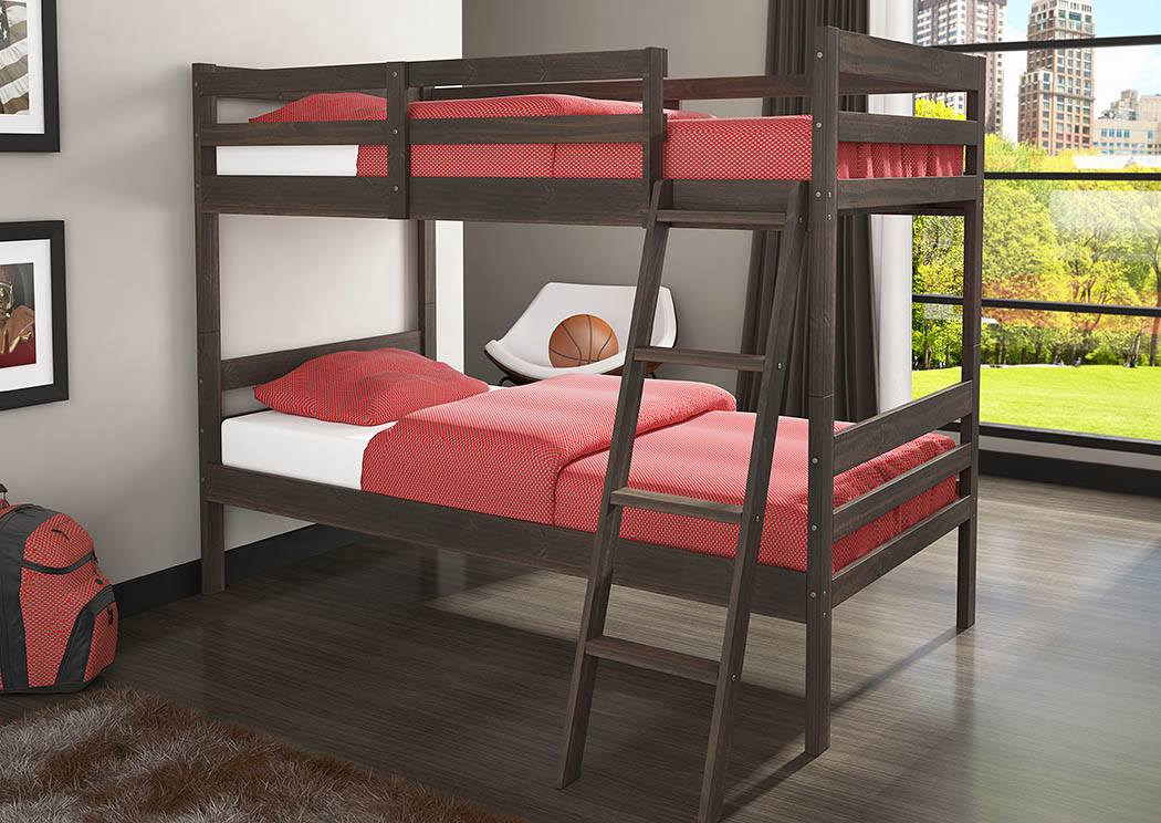 Econo Bunk Rustic Walnut Twin/Twin Bunk Bed w/Ladder,Donco Kids