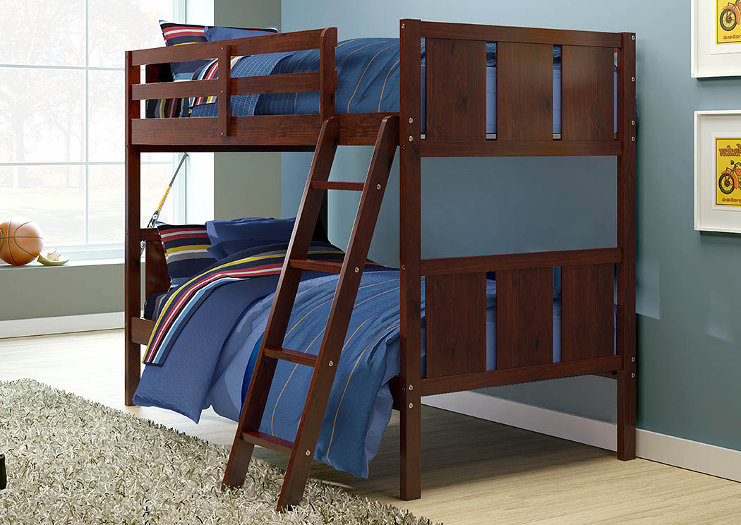 Portifino Dark Cappuccino Twin/Twin Bunk Bed,Donco Kids
