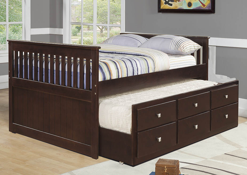 Full Captains Bed w/Roll-Out Storage Trundle,Donco Kids