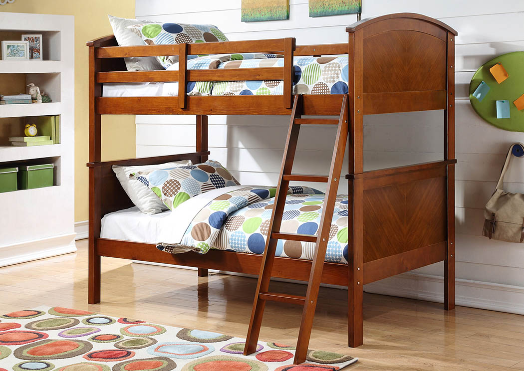 Twin/Twin Arch Panel Oak Bunk Bed,Donco Kids