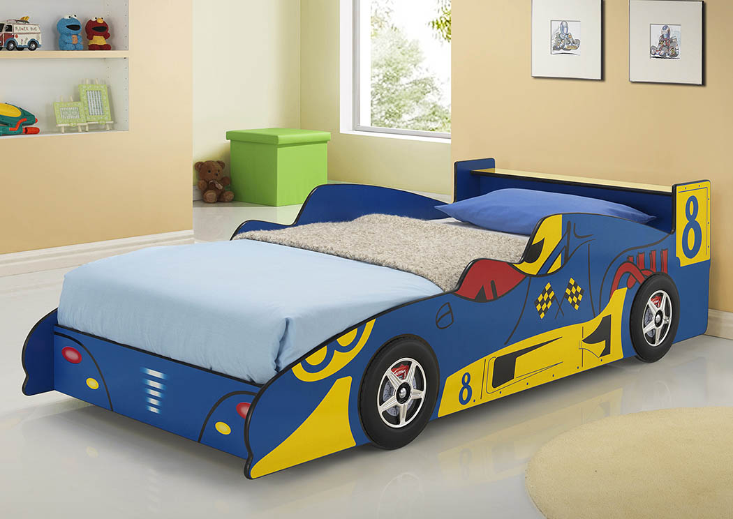 Twin/Twin Blue & Yellow Race Car Bed,Donco Kids