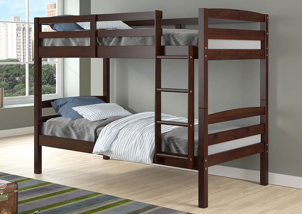Devon Arch Dark Cappuccino Twin/Twin  Bunk Bed,Donco Kids