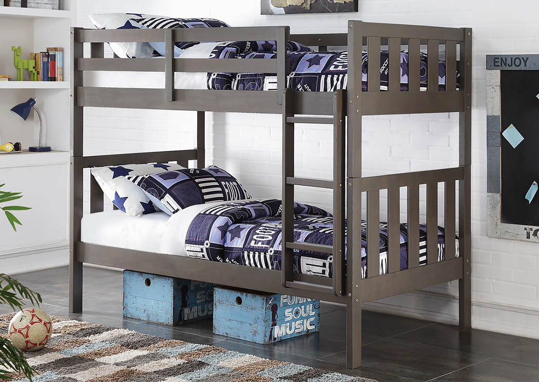Twin/Twin Slate Gray Wide Mission Bunk Bed w/Ladder,Donco Kids