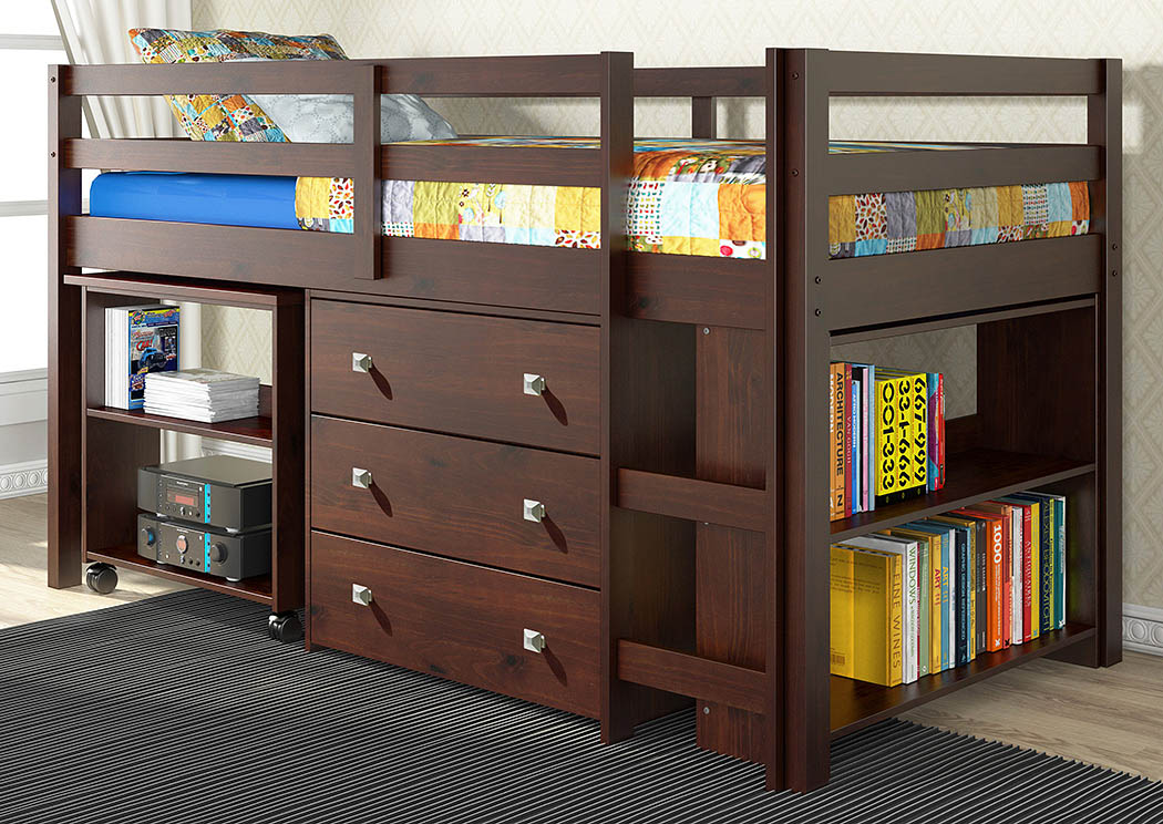 Twin Dark Cappuccino Low Loft Study Bed,Donco Kids