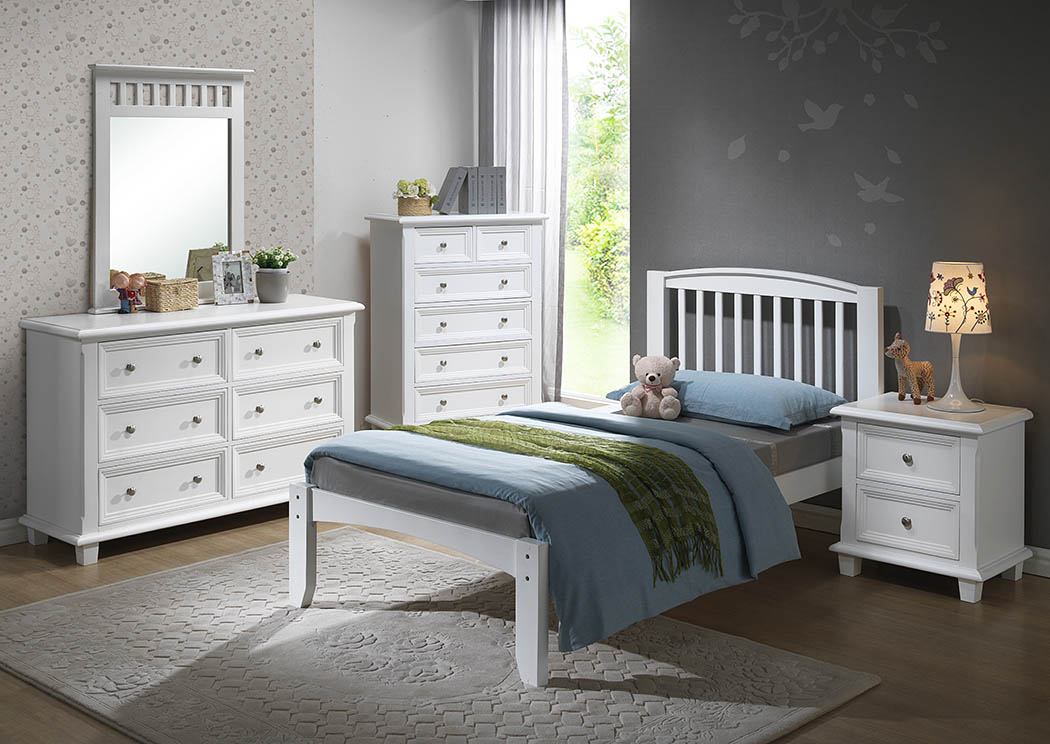 Twin White Premium Arch Mission Bed,Donco Kids