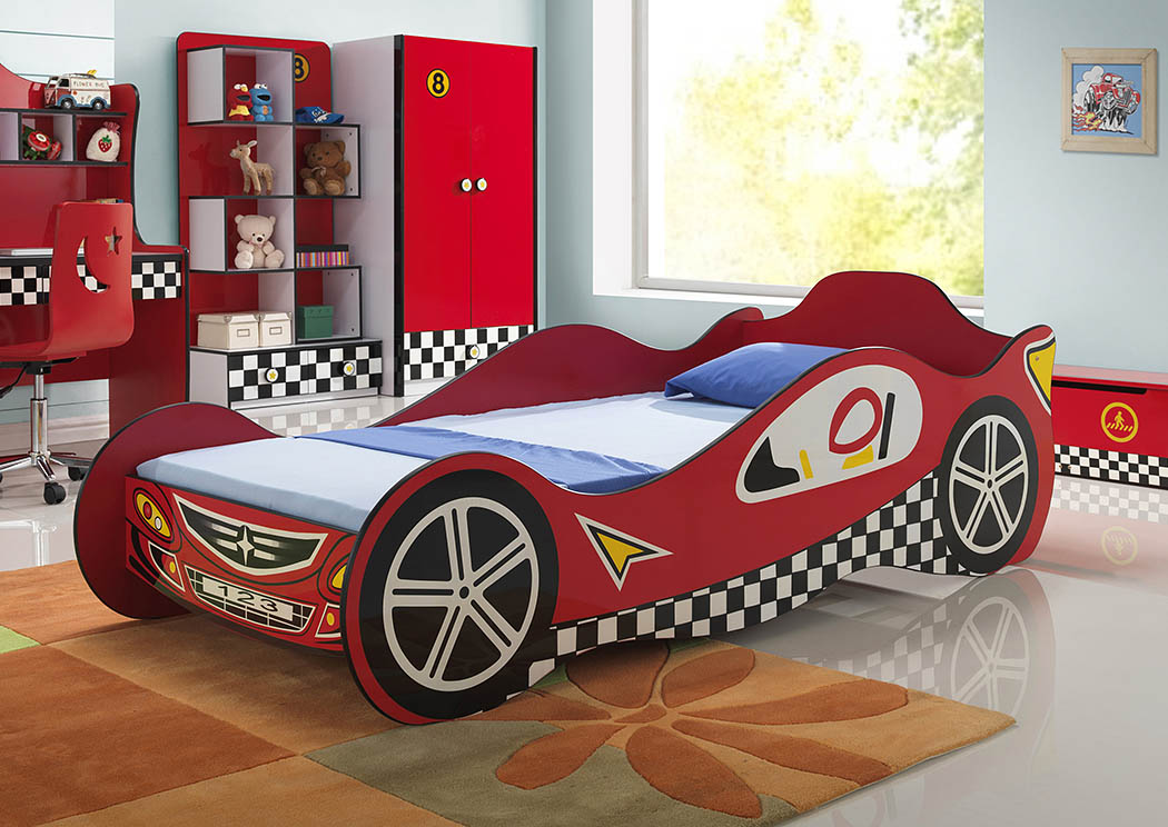Twin/Twin Red Race Car Bed,Donco Kids