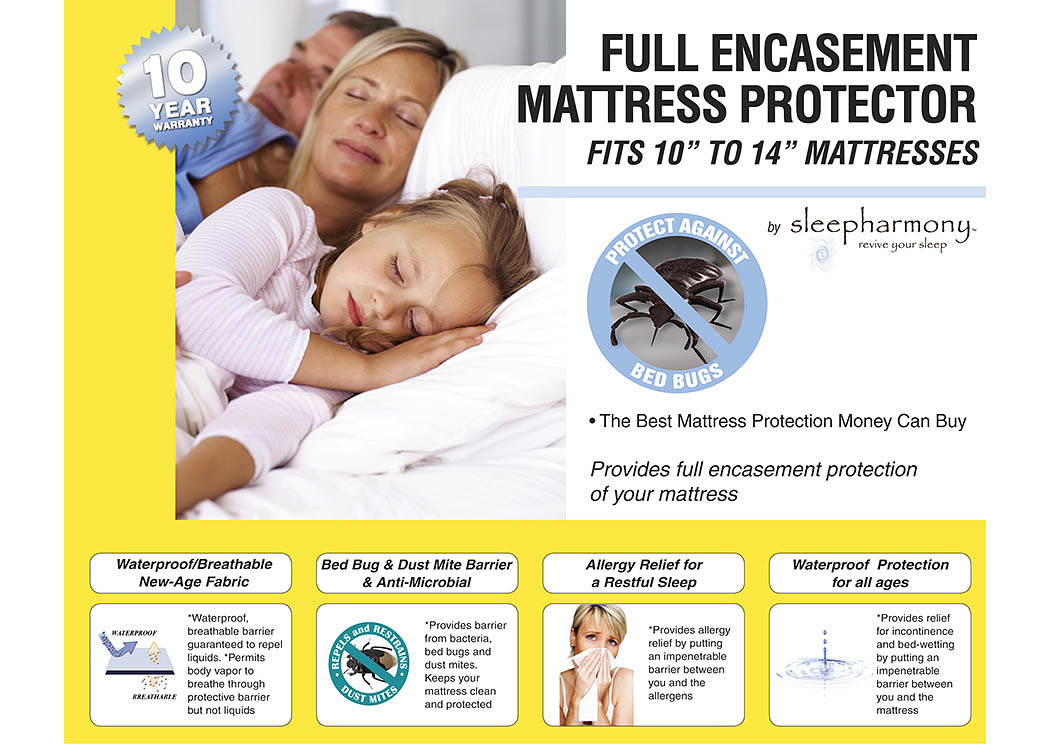 "Queen 10""-14"" Full Encasement Mattress Protector,Donco Kids"