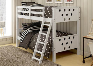 Twin/Twin White Circles Bunk Bed
