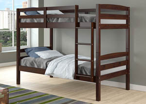 Devon Arch Dark Cappuccino Twin/Twin  Bunk Bed