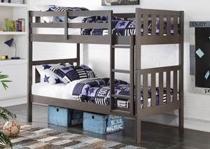 Twin/Twin Slate Gray Wide Mission Bunk Bed w/Ladder