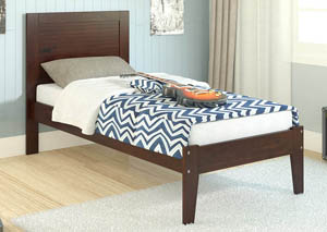 Twin Dark Cappuccino Panel Bed