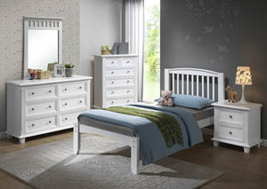 Image for Twin White Premium Arch Mission Bed