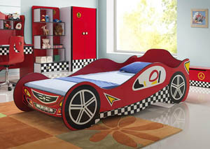Twin/Twin Red Race Car Bed