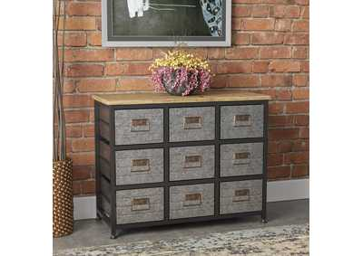 Image for Grant Aged Metal 6-Drawer Accent Cabinet