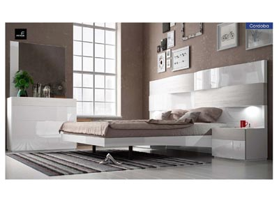 Image for Cordoba Beige & White Queen Storage Bed W/ Dresser & Mirror