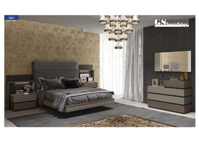 Image for Leo Beige & Brown Storage Queen Bed W/ Dresser & Mirror