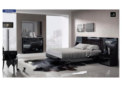 Image for Marbella Black Platform King Bed W/ Dresser & Mirror