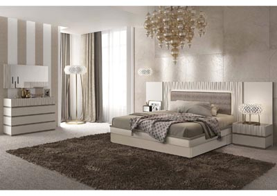 Image for Marina Beige & White Storage King Bed W/ Dresser & Mirror