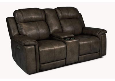 Image for Kingsley Dark Brown Power Reclining Loveseat with Console & Power Headrests