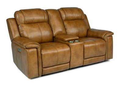 Image for Kingsley Medium Brown Power Reclining Loveseat with Console & Power Headrests