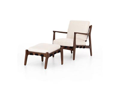 Image for Osaka Blanco + Espresso Walnut Bishop Silas Chair With Ottoman