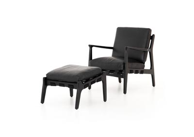 Image for Black Ash + Aged Black Bishop Silas Chair With Ottoman