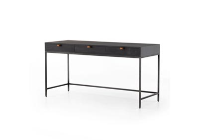 Image for Natural Iron + Toffee Leather + Black Wash Poplar Fulton Trey Modular Writing Desk