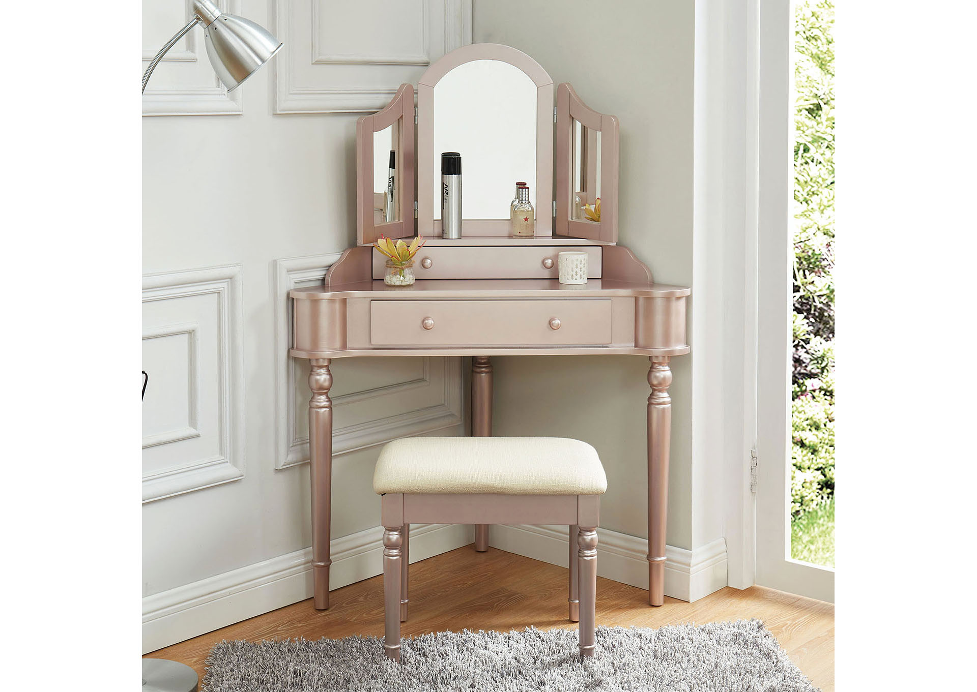 Kasey Rose Gold Vanity w/Stool,Furniture of America